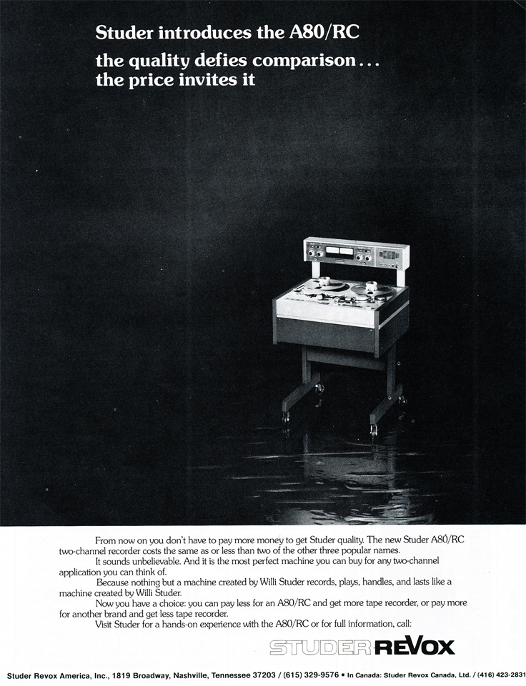 1978 ad for the Studer ReVox A80 professional reel to reel tape recorder  in Reel2ReelTexas.com's vintage recording collection