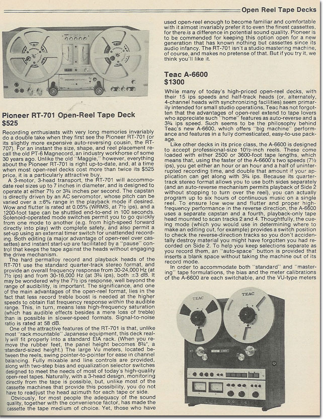 picture of 1978 Pioneer RT-707 & Teac A-6600 reviews