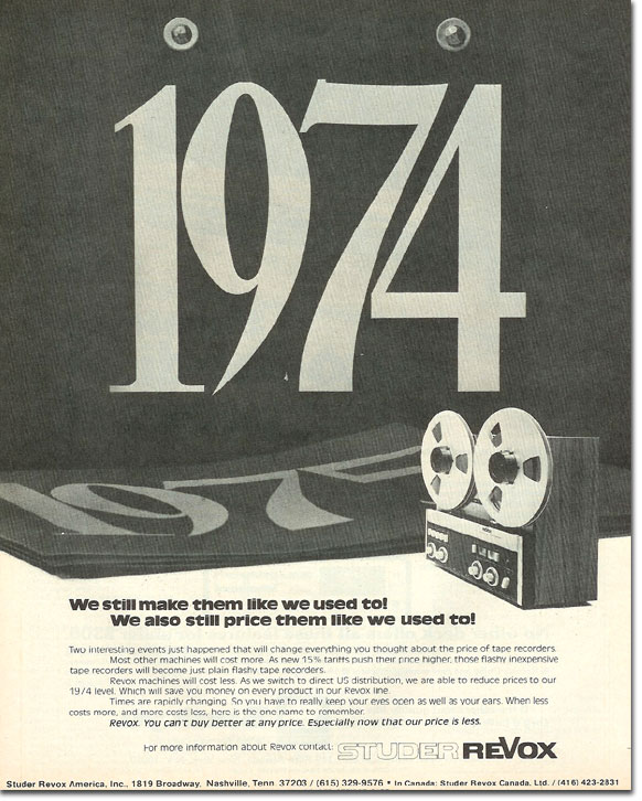 picture of 1978 Revox tape recorder ad
