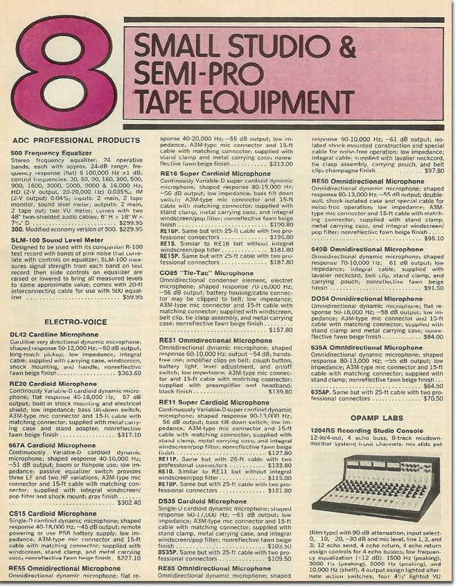 picture of 1978 summaries of semi pro equipment