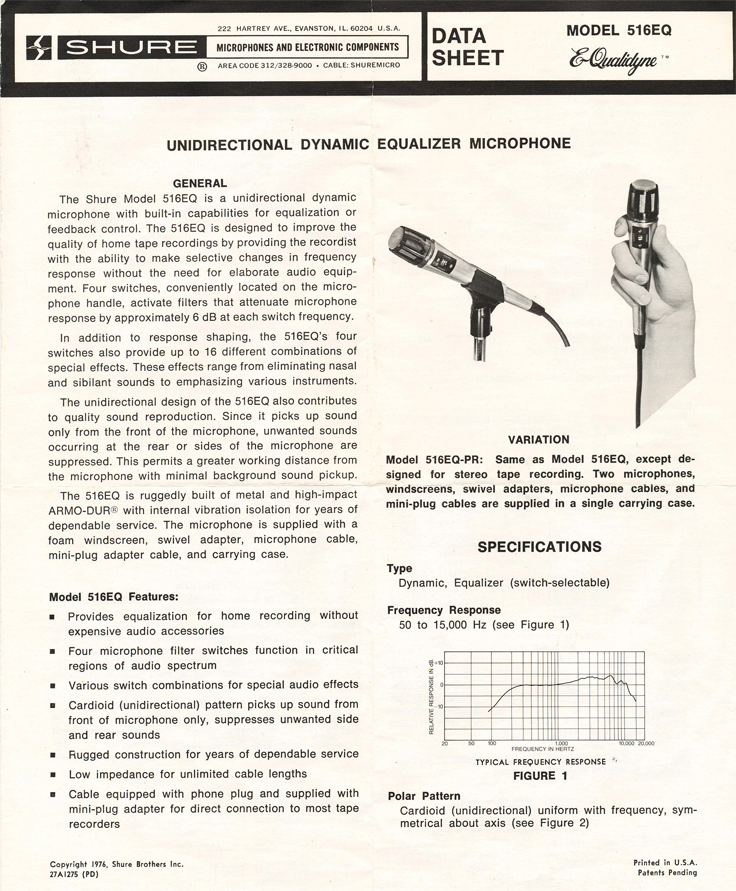Shure 516 EQ microphone data sheet in Reel2ReelTexas.com's vintage recording collection