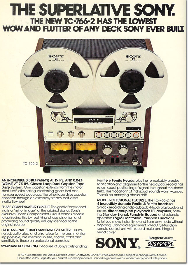 1978 ad for the Sony TC-765 the last reel to reel tape recorder made by Sony in Reel2ReelTexas.com's vintage recording collection