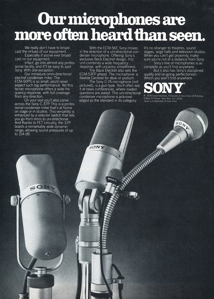 1978 ad for the Sony C37P microphones in Reel2ReelTexas.com's vintage recording collection