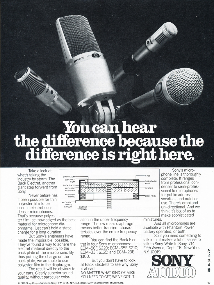 1978 ad for Sony microphones in Reel2ReelTexas.com's vintage recording collection