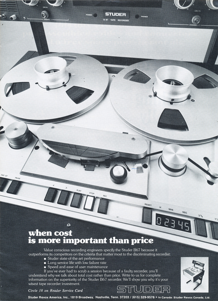 1978 ad for the Studer B67 professional reel to reel tape recorders in Reel2ReelTexas.com's vintage recording collection