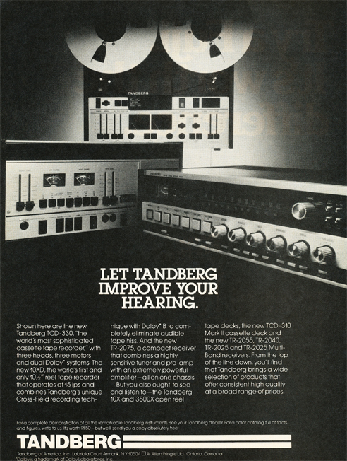 1978 Tandberg reel tape recorder ad in Reel2ReelTexas.com's vintage reel tape recorder collection