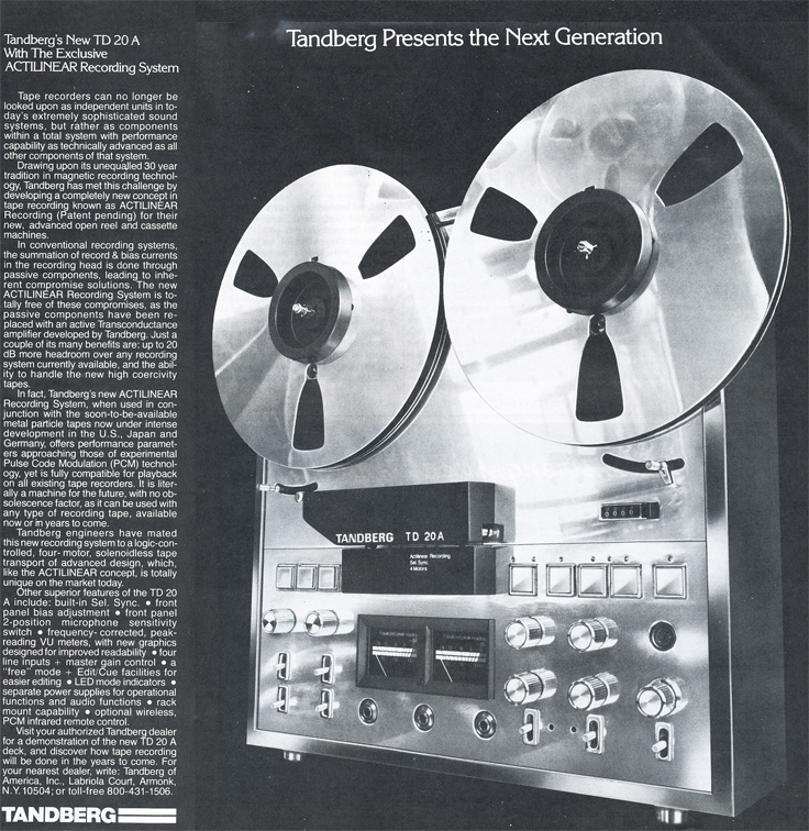 1978 ad for the Tandberg TD-20  reel to reel tape recorder in Reel2ReelTexas.com's vintage recording collection