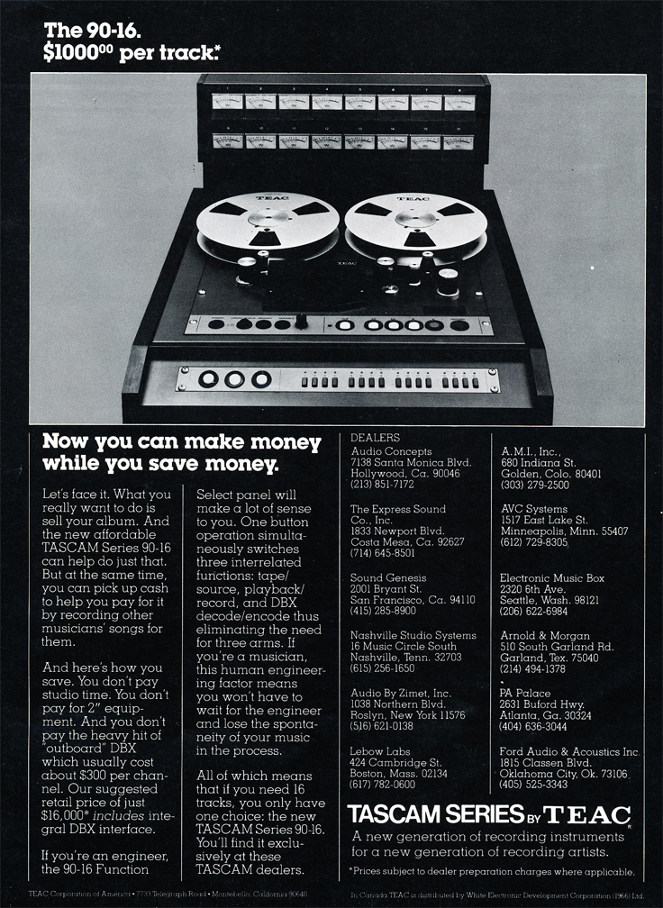 1978 ad for the Tascam 90-16 professional 16 track  reel to reel tape recorder in Reel2ReelTexas.com's vintage recording collection