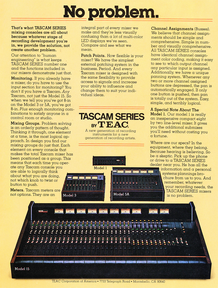 1978 Teac Tascam ad featuring their mixers in Reel2ReelTexas' vintage recording collection