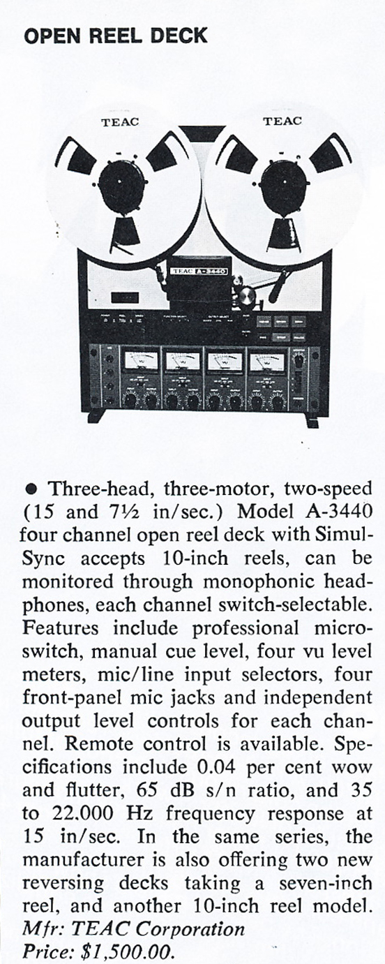 1978 review of the Teac A-3440  reel to reel tape recorder in Reel2ReelTexas.com's vintage recording collection