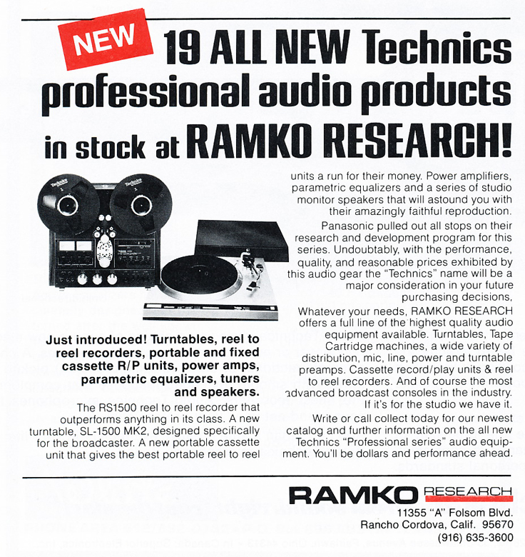 1978 ad by Ramko for the Technics professional reel to reel tape recorder in Reel2ReelTexas.com's vintage recording collection