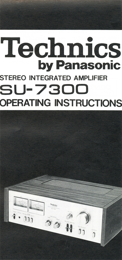 1978 manual for the Technics SU-7300 amplifier in Reel2ReelTexas.com's vintage reel tape recorder collection
