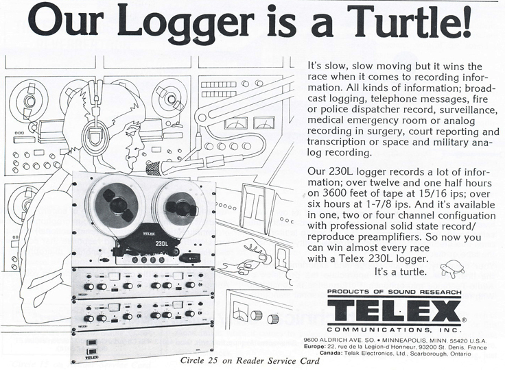1978 ad for the Telex Magnecord 230L logging reel to reel tape recorder in Reel2ReelTexas.com's vintage recording collection