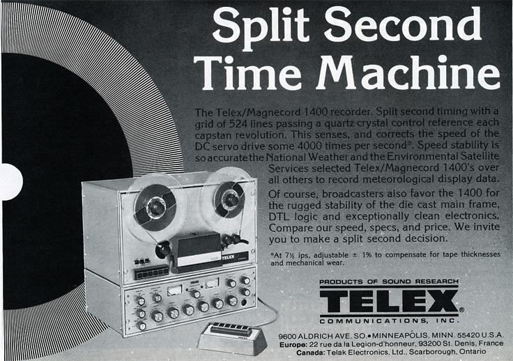 1978 ad for the Telex Magnecord 1400 professional reel to reel tape recorder in Reel2ReelTexas.com's vintage recording collection