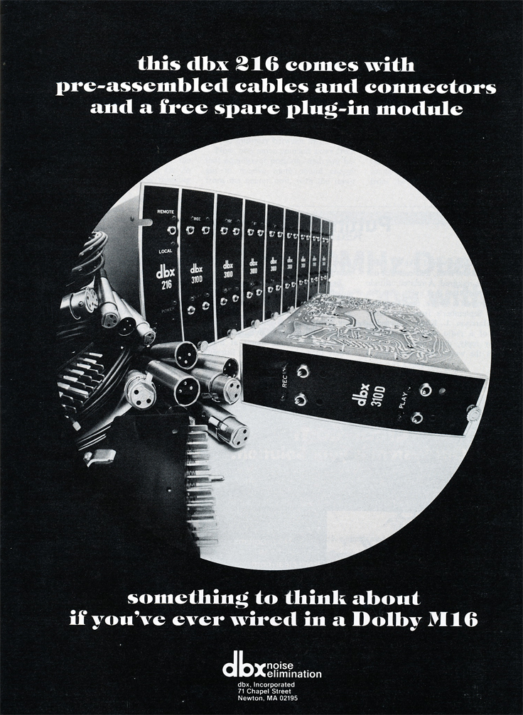 1978 ad for the dbx 216 in Reel2ReelTexas.com's vintage recording collection