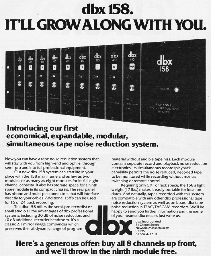 1978 ad for the dbx 158 noise reduction unit in Reel2ReelTexas.com's vintage recording collection