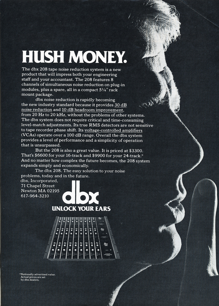 1978 ad for the dbx 208 noise reduction unit in Reel2ReelTexas.com's vintage recording collection