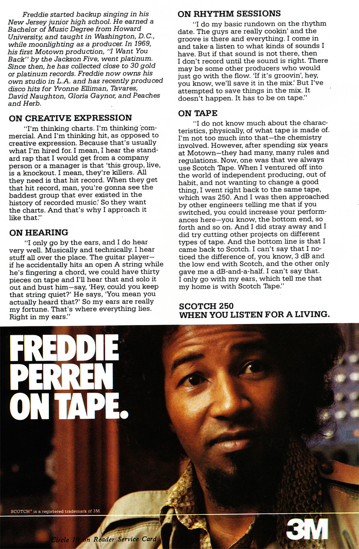 1979 ad for 3M Scotch 250 reel recording tape featuring Freddie Perren in Reel2ReelTexas.com's vintag