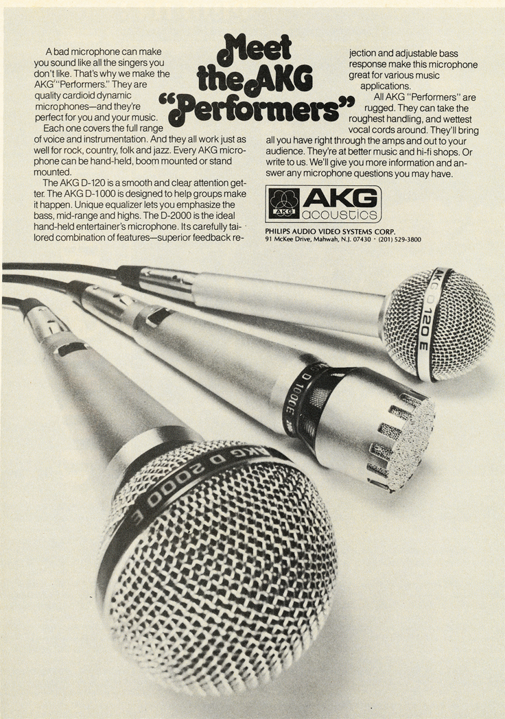 1979 ad for AKG microphones in Reel2ReelTexas.com's vintage recording collection