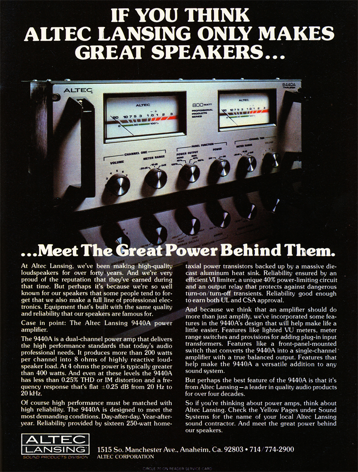 1979 Altec amplifier ad in   Phantom Productions' vintage tape recording collection