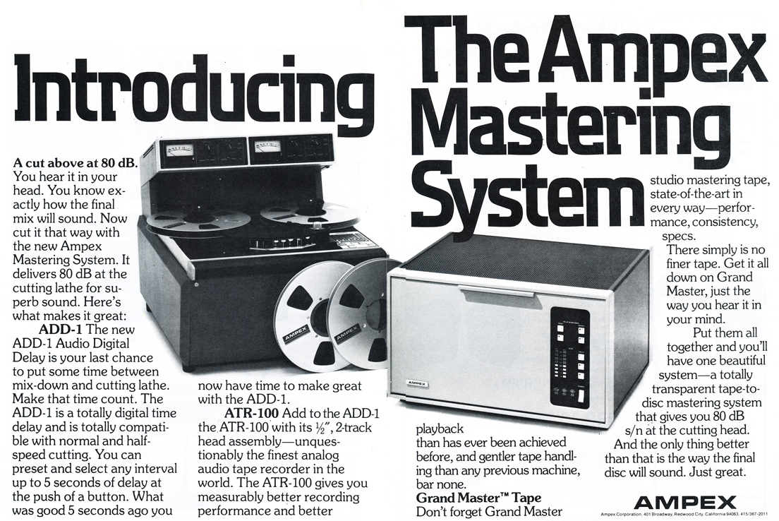 1979 ad for the Ampex ATR 100 professional reel toe reel tape recorder and the Ampex ADD1 Mastering System in Phantom Productions' vintage tape recording collection