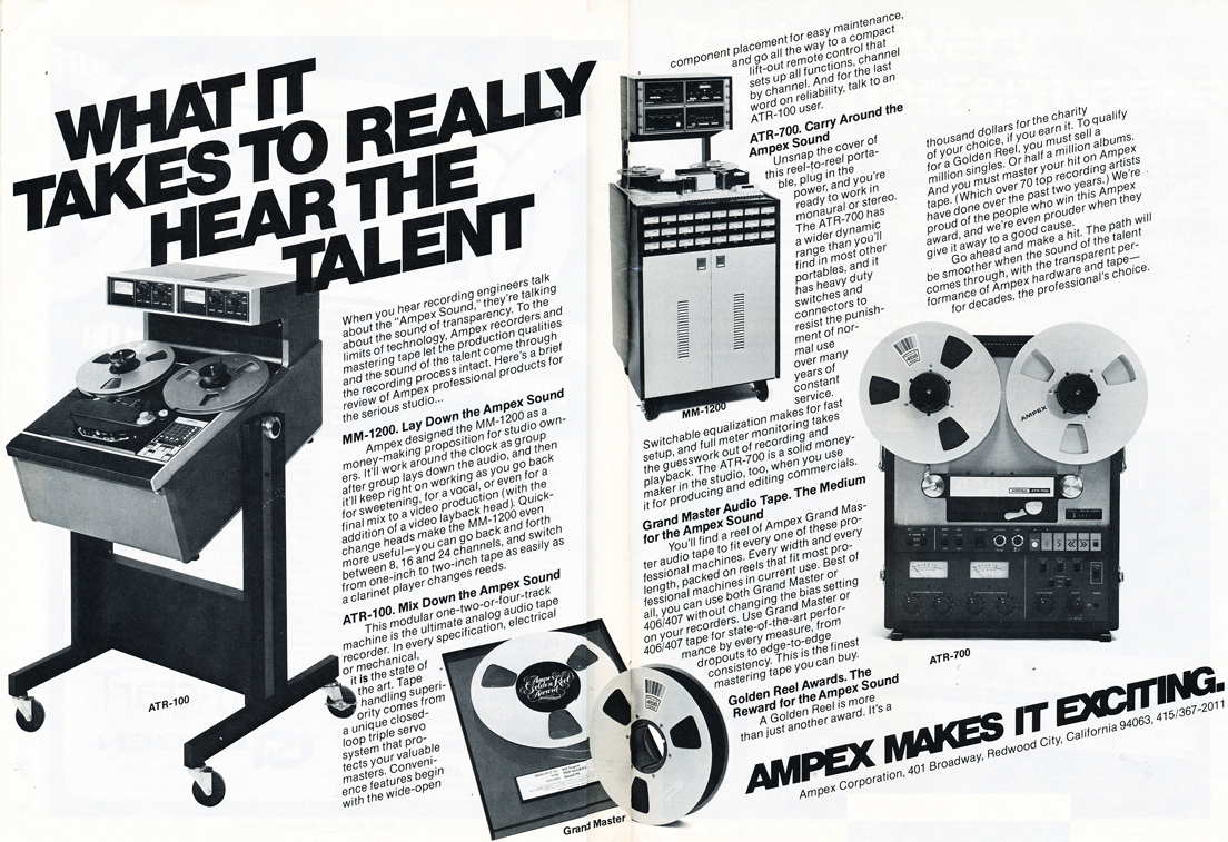 1979 ad for the Ampex ATR 100, the Ampex ATR 700 and the MM 1200 professional reel to reel tape recorders in Phantom Production's vintage recording collection