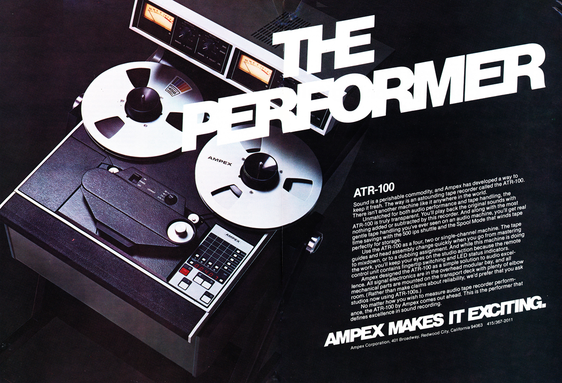 1979 ad for the Ampex ATR 100 professional reel toe reel tape recorder in Phantom Productions' vintage tape recording collection