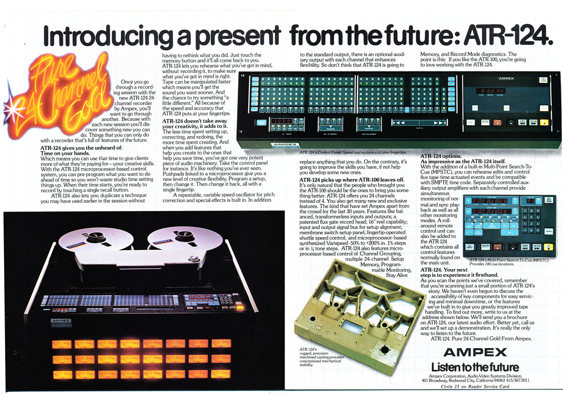 1979 ad for the Ampex ATR 124 24 track professional reel toe reel tape recorder in Phantom Productions' vintage tape recording collection