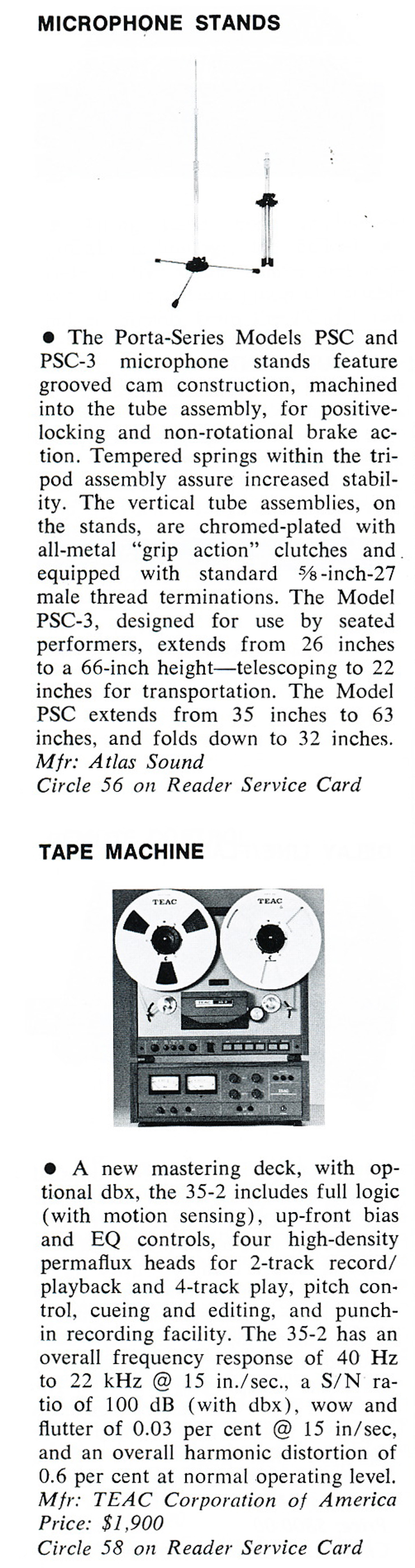 1979 review of Atlas' Porta Stands and the Teac 35-2 2 track mastering reel to reel tape recorder in Reel2ReelTexas.com's vintage recording collection