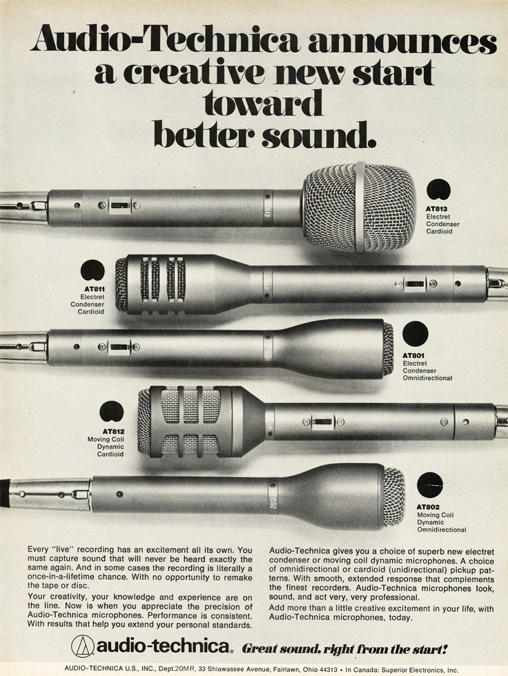 1979 ad for  Audio Technica microphones in Reel2ReelTexas.com's vintage recording collection