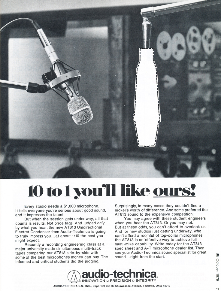 1979 ad for  Audio Technica AT813 microphone in Reel2ReelTexas.com's vintage recording collection