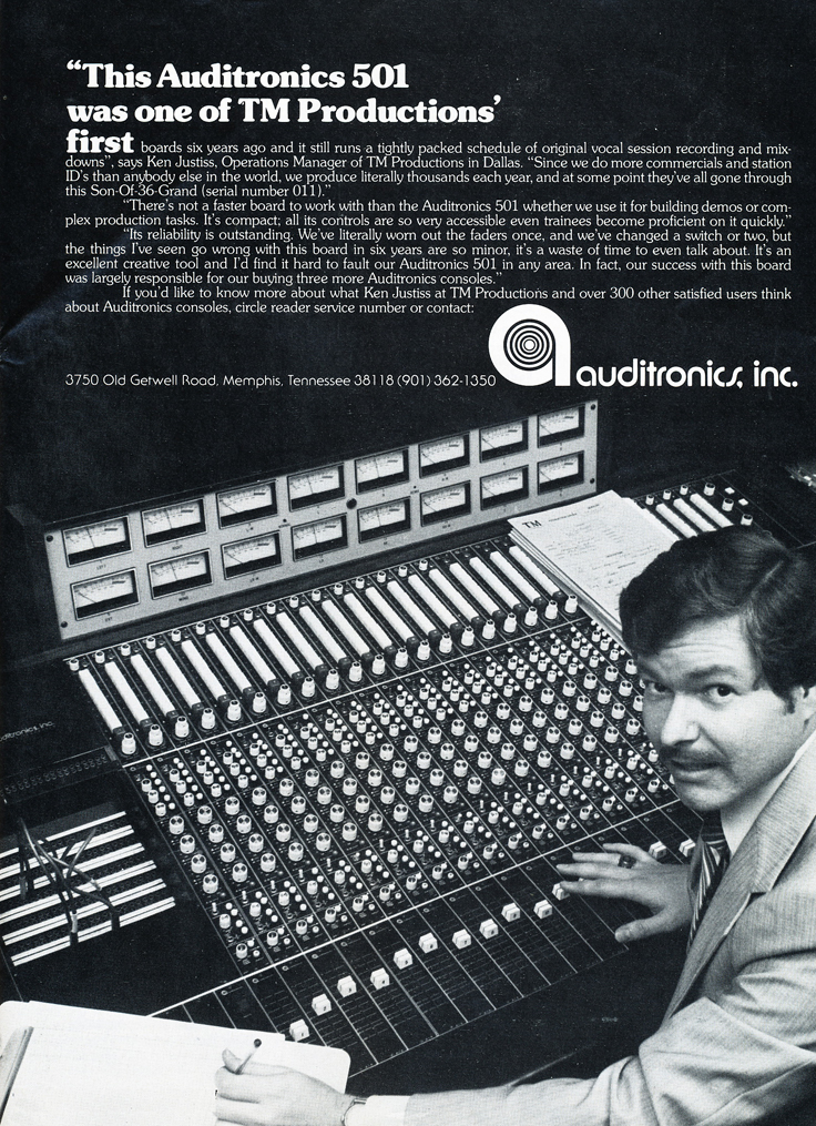 1979 ad for Audiotronics consoles in Reel2ReelTexas.com's vintage recording collection