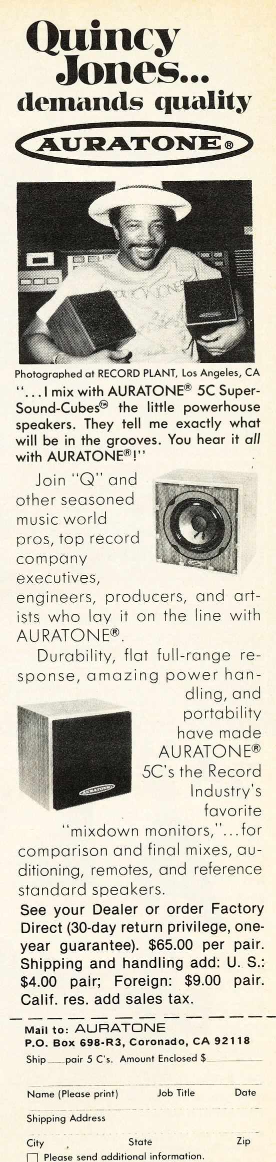 1979 ad for Auratone studio speakers featuring Quincy Jones  in Reel2ReelTexas.com's vintage recording collection