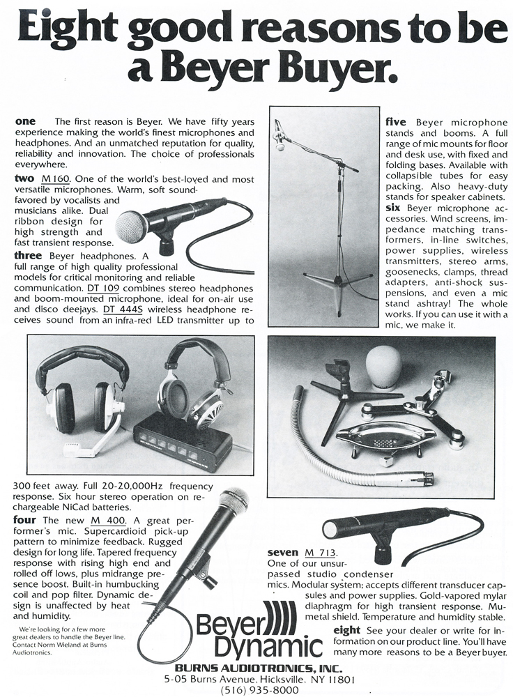 1979 ad for the Beyer M500 microphone in Reel2ReelTexas.com's vintage recording collection
