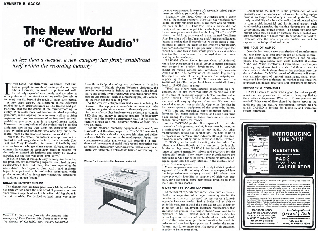 1979 article on Creative Audio in Reel2ReelTexas.com's vintage recording collection