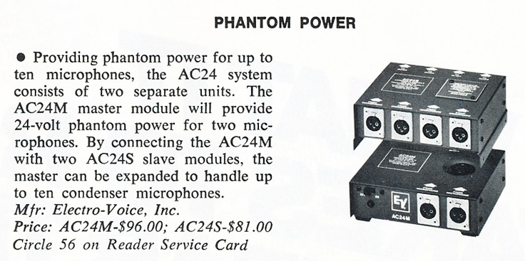1979 Electro Voice review of EV's Phantom Power AC24 in Phantom Productions' vintage tape recording collection