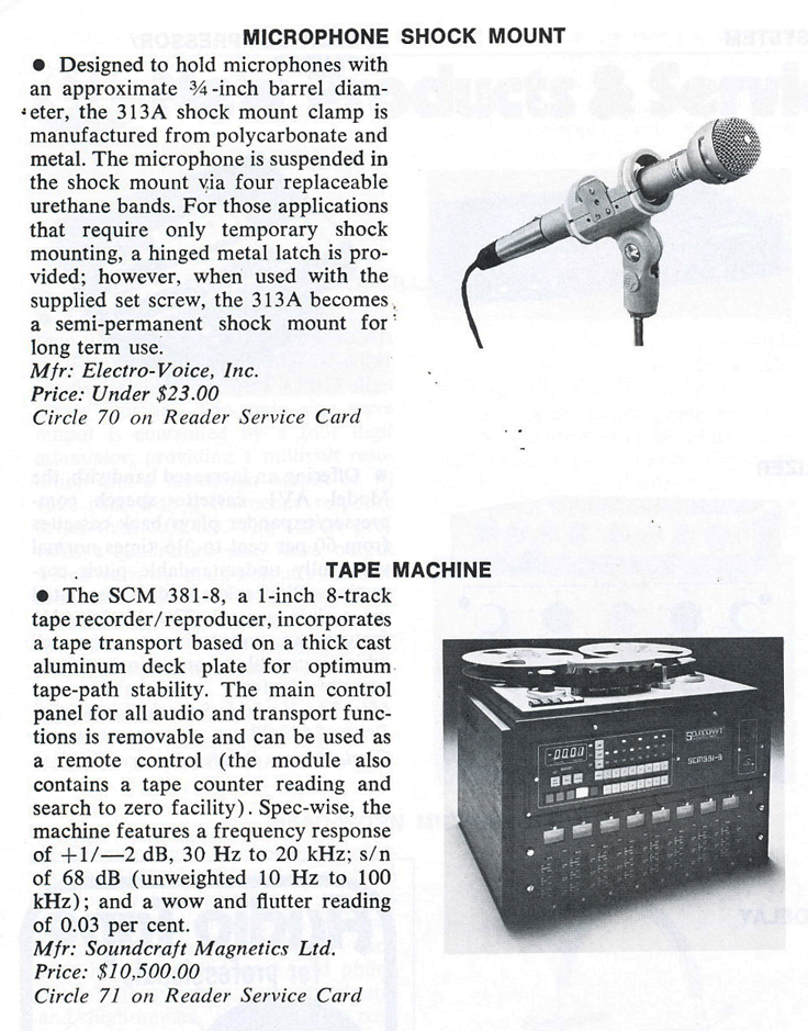 1979 review of Electro Voice shock mounts and Soundcrafts's SCM 381 8 track digital reel tape recorder in Reel2ReelTexas.com's vintage recording collection