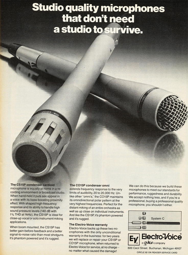 1979 Electro Voive studio microphone ad in Phantom Productions' vintage tape recording collection