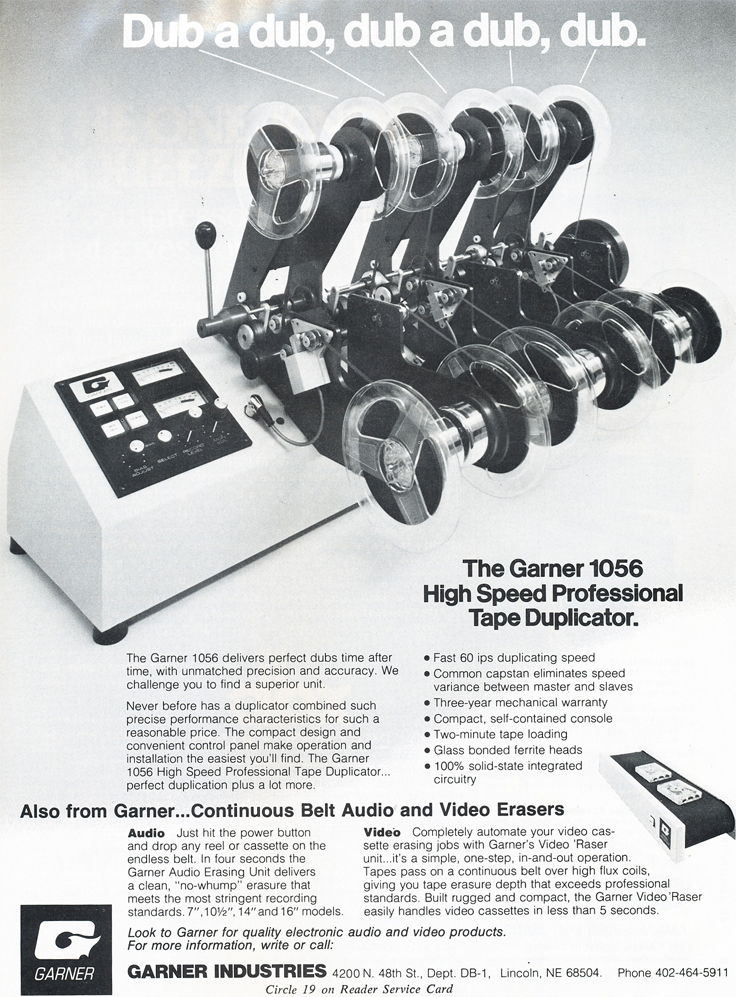 1979 ad for Garner duplication and bulk erasing products in Reel2ReelTexas.com's vintage recording collection