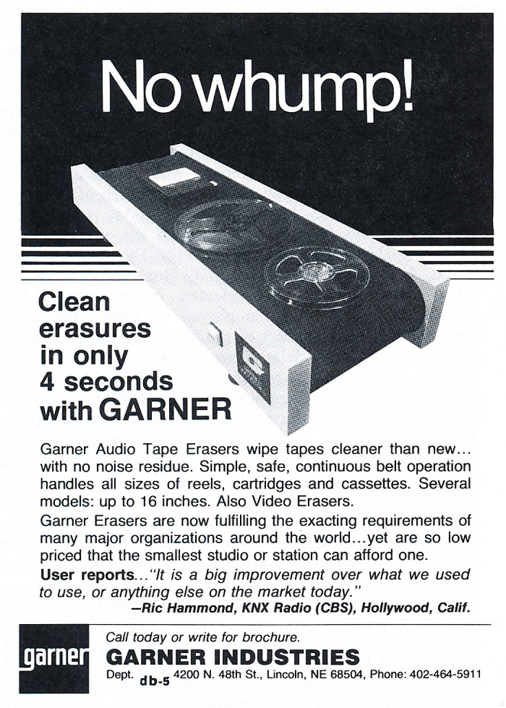 1979 ad for Garner bulk erasing products in Reel2ReelTexas.com's vintage recording collection