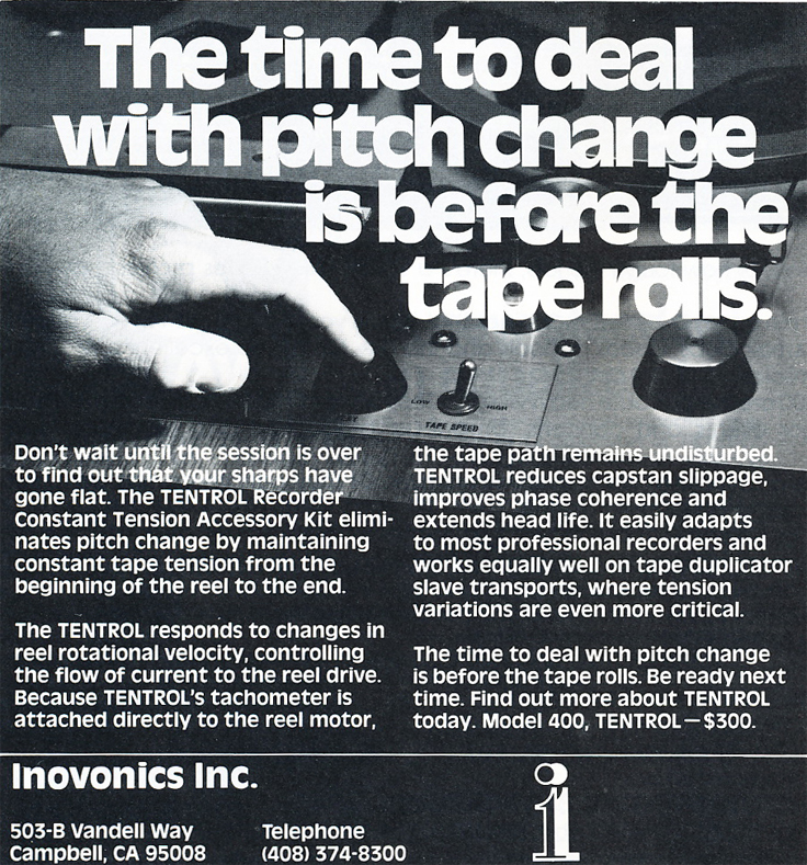 1979 ad for Innovonics in Phantom Productions' vintage tape recording collection