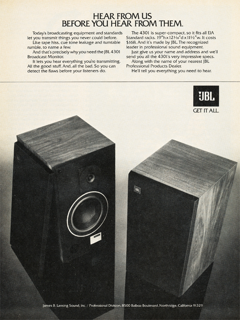 1979 JBL ad in Phantom Productions' vintage tape recording collection