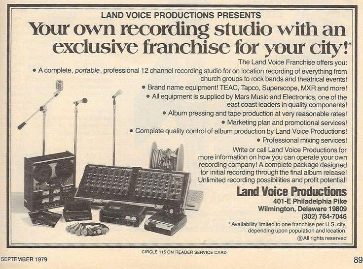1979 Land Voice Ad for recording studio franchise