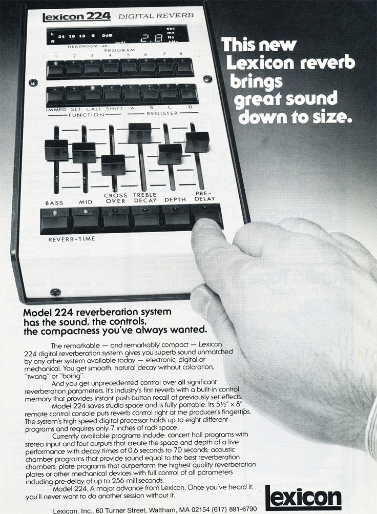 1979 ad for the  Lexicon 224 in Phantom Productions' vintage tape recording collection