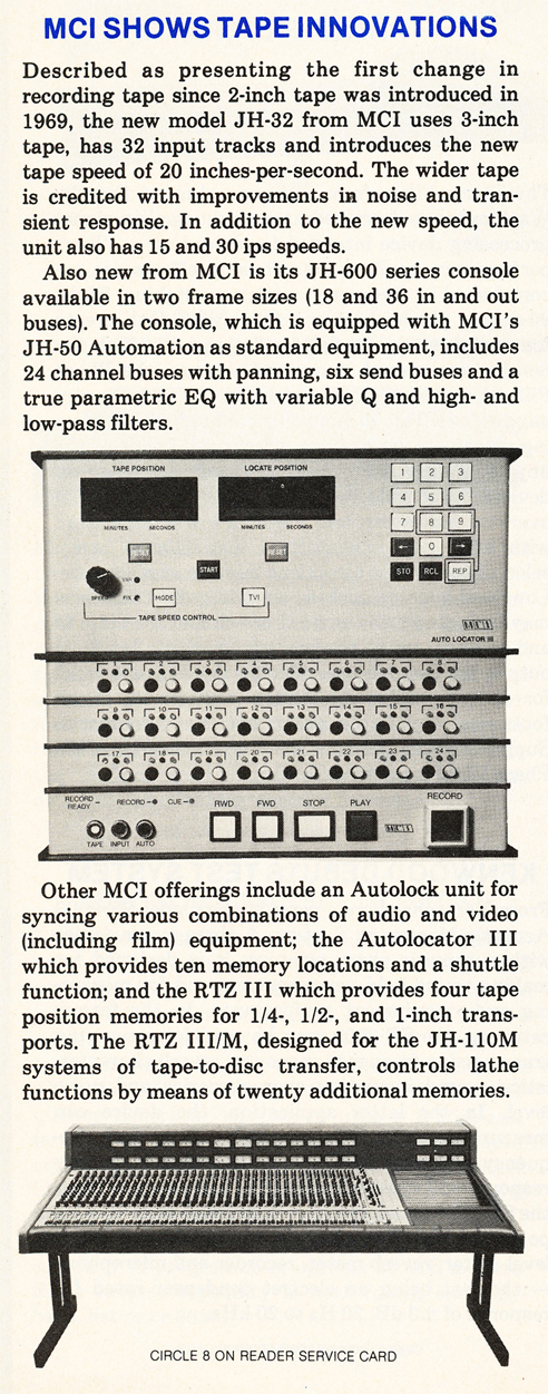 MCI mixer information in Phantom Productions' vintage tape recording collection