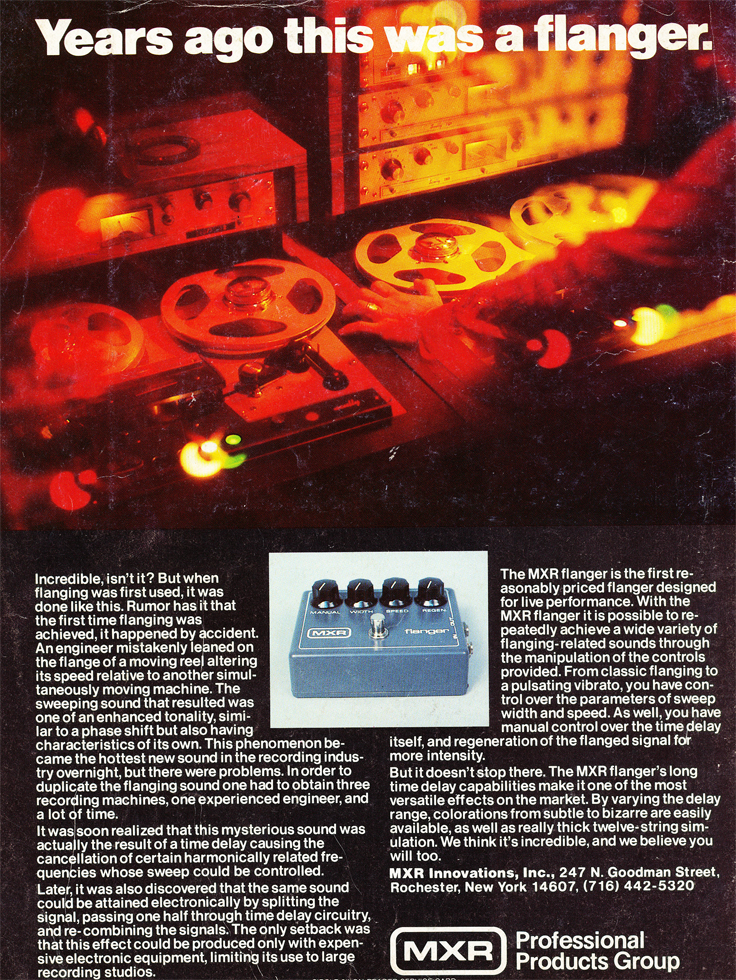 1979 ad for MXR with Scully tape recorders in the backgrouns in Phantom Productions' vintage tape recording collection