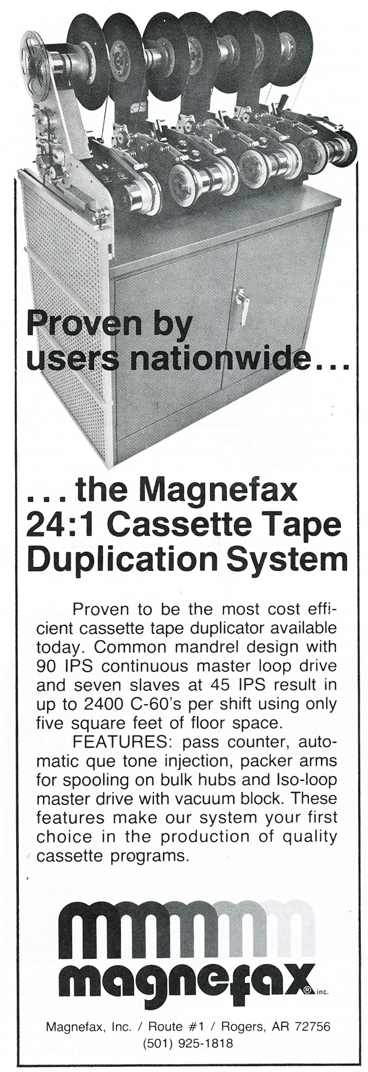 1979 ad for Magnefax reel tape duplication in Reel2ReelTexas.com's vintage recording collection