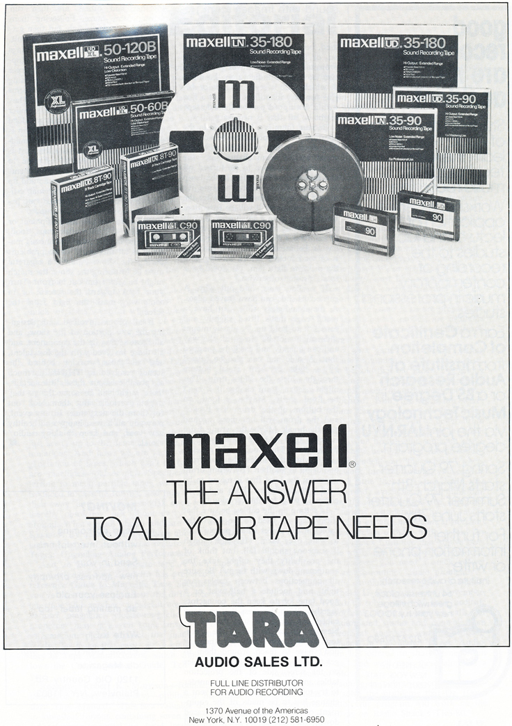 1979 ad for Maxell reel recording tape in Reel2ReelTexas.com's vintage recording collection
