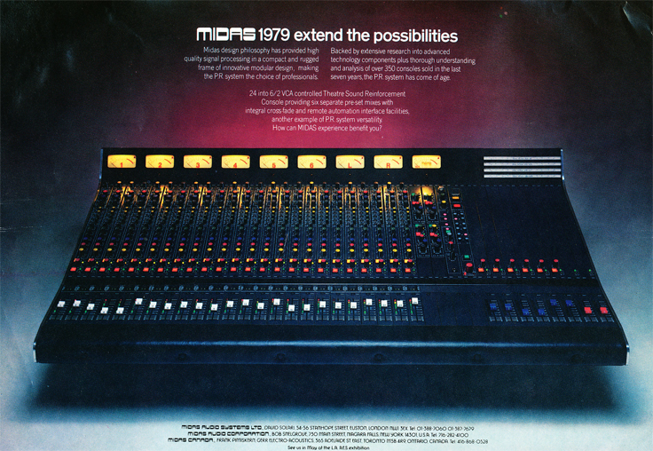 1979 ad for the Midas recording consoles  in Reel2ReelTexas.com's vintage recording collection