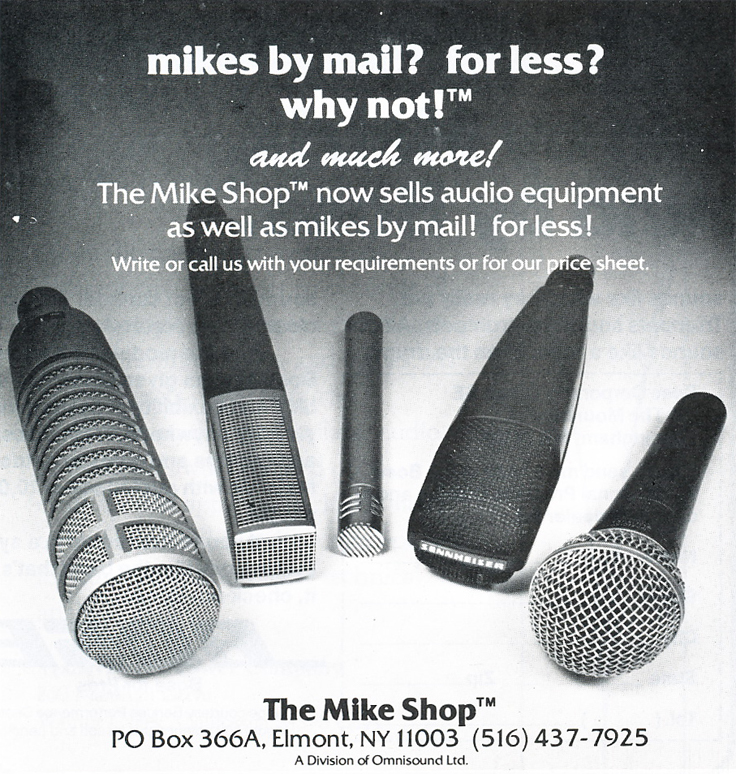 1979 ad for Mike Shop in the backgrouns in Phantom Productions' vintage tape recording collection